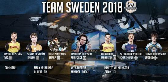 瑞典国家队公布2018守望先锋世界杯最终7人名单